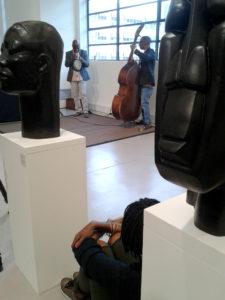 Feya Faku and Herbie Tsoaeli pay tribute in music to Dumile Feni at Gallery MOMO, Cape Town. Photo: Steve Kretzmann