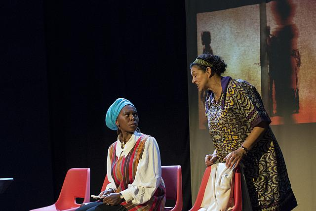 Denise Newman(right) and Ntombi Makhutshi (left) perform in the drama theatre production, As Ever, Bessie, in Grahamstown, Tuesday, 5 July 2016, at the National Arts Festival.
