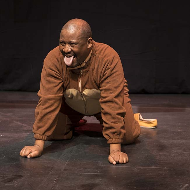 Seiphemo Alex Motswiri performs as part of the play Be a Better Dog at the N G Kerksaal in Grahamstown on 4 July 2016 at the National Arts Festival. Motswiri directed and performed in the piece. (Photo: CuePix/Jeffrey Stretton-Bell)