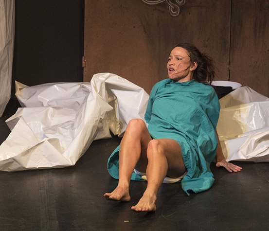Hilda Cronje, Cam Robertson and Andi Colombo perform in the theatre production Ebola, in Grahamstown on 30 June 2016, at the National Arts Festival. Ebola engages in the issues which Doctors face when dealing with patients who have viruses and diseases. (Photo: CuePix/Aaliyah Tshabalala)